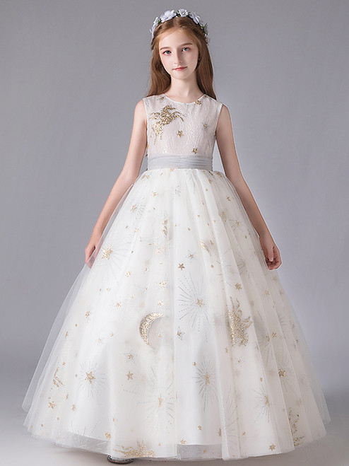 In Stock:Ship in 48 Hours White Ball Gown Tulle Sequins Flower Girl Dress