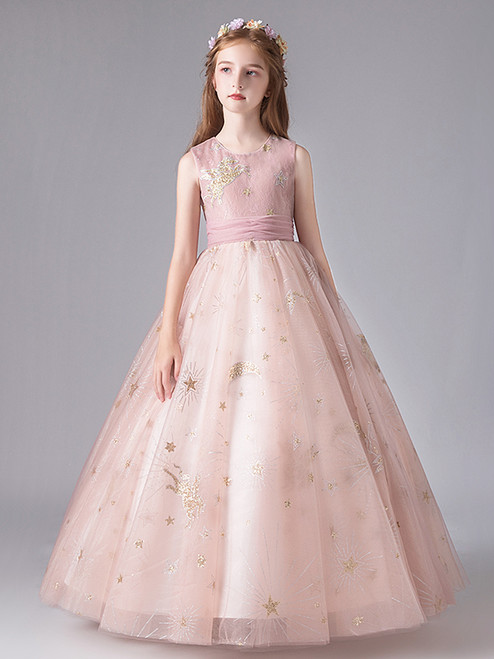 In Stock:Ship in 48 Hours Pink Ball Gown Tulle Sequins Flower Girl Dress