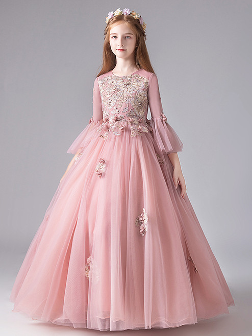 In Stock:Ship in 48 Hours Tulle Appliques Long Sleeve Flower Girl Dress
