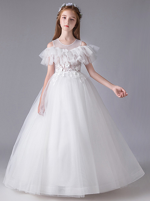 In Stock:Ship in 48 Hours White Tulle Appliques Sexy Flower Girl Dress