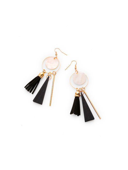 Triangle And Tassel Detail Drop Earrings