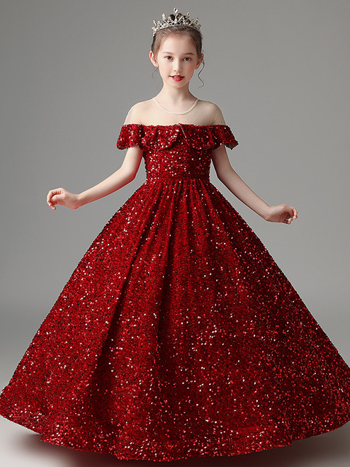 In Stock:Ship in 48 Hours Burgundy Ball Gown Sequins Flower Girl Dress