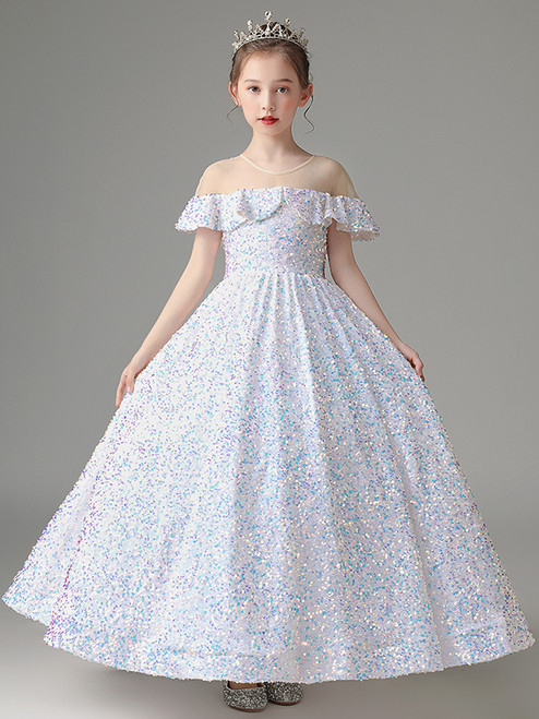 In Stock:Ship in 48 Hours White Ball Gown Sequins Flower Girl Dress
