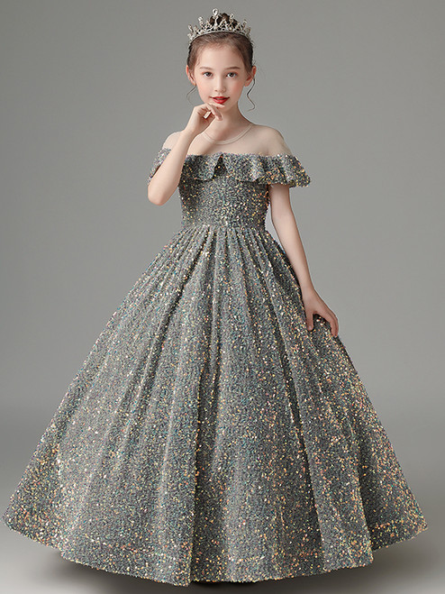 In Stock:Ship in 48 Hours Gray Ball Gown Sequins Flower Girl Dress