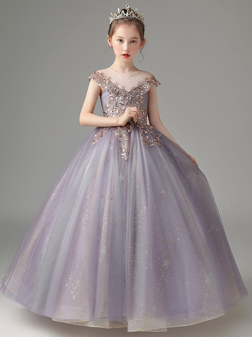 In Stock:Ship in 48 Hours Purple Sequins Flower Girl Dress