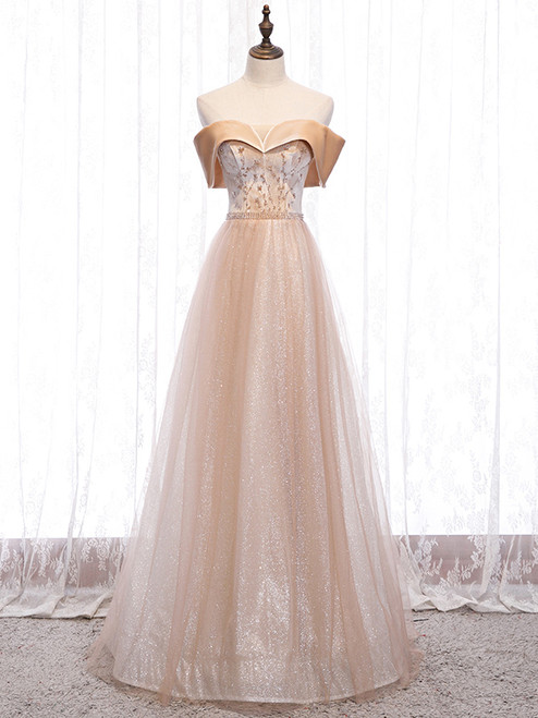 Champagne Tulle Sequins Beading Off the Shoulder Prom Dress