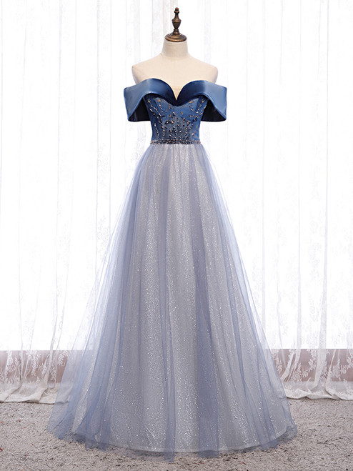 Blue Tulle Sequins Beading Off the Shoulder Prom Dress