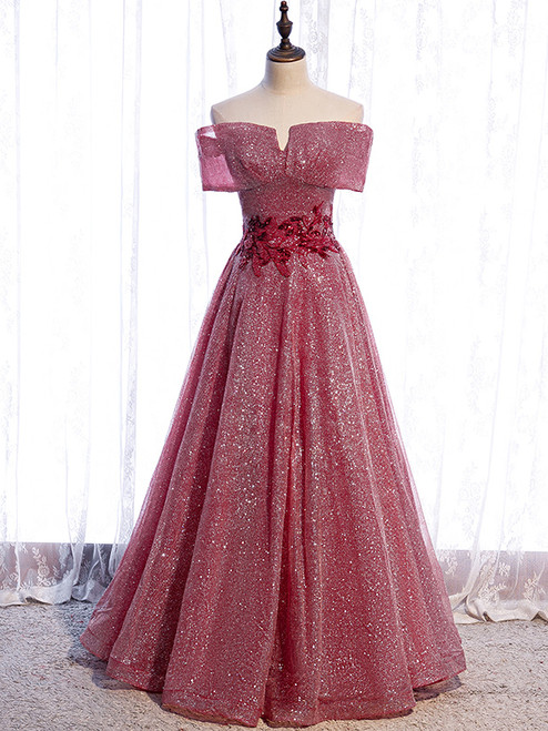 Burgundy Sequins Off the Shoulder Appliques Prom Dress