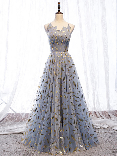 Blue Gray Tulle Gold Feather Strapless Prom Dress