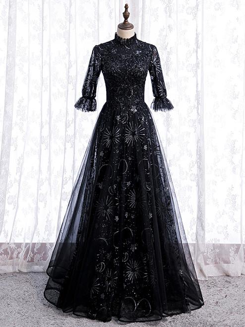 Black Tulle Sequins Short Sleeve Beading Prom Dress