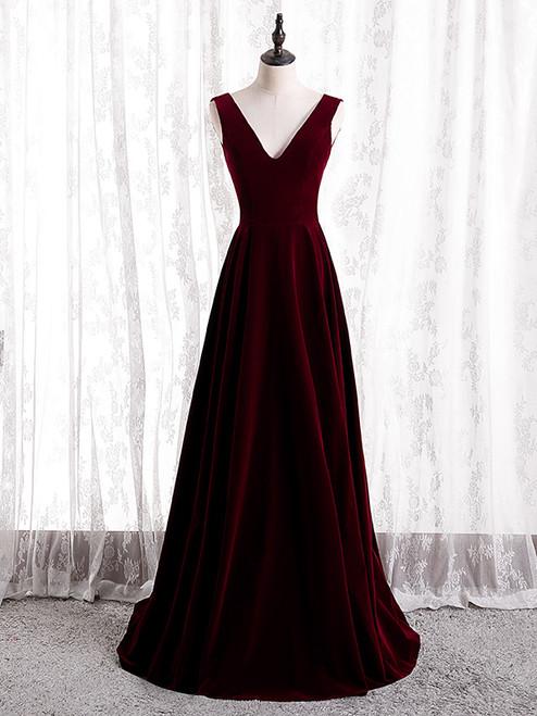 A-Line Burgundy Velvet V-neck Backless Prom Dress