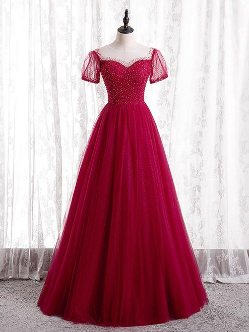 Burgundy Tulle Short Sleeve Scoop Neck Prom Dress