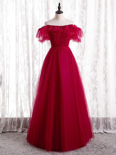 Burgundy Tulle Off the Shoulder Pleats Prom Dress