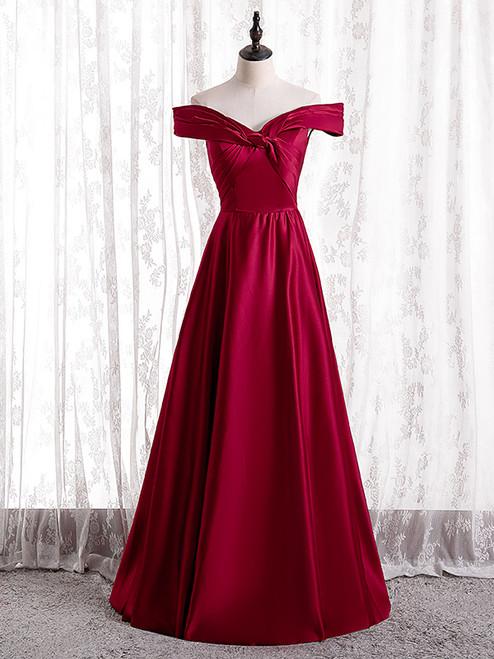 Simple Burgundy Satin Off the Shoulder Pleats Prom Dress