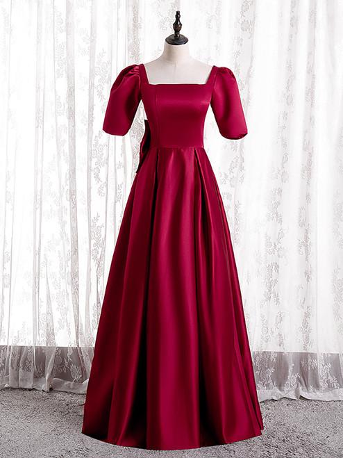 Burgundy Satin Short Sleeve Bow Prom Dress