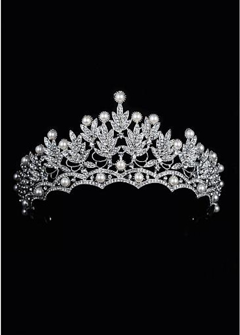 In Stock Shining Alloy Wedding Tiaras With Rhinestones & Pearls