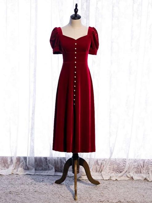 Burgundy Velvet Square Short Sleeve Prom Dress