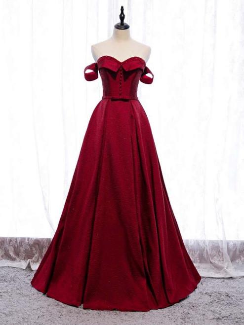 Burgundy Satin Off the Shoulder Beading Prom Dress