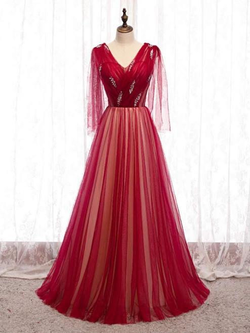 Burgundy Tulle V-neck Pleats Beading Prom Dress