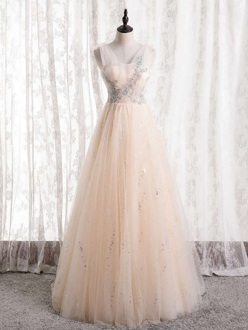 Champagne Tulle Sequins Pleats Beading Prom Dress