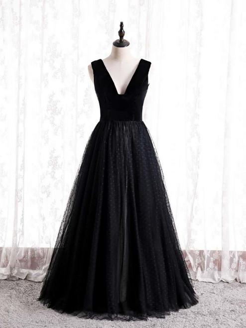 Black Tulle Velvet V-neck Prom Dress