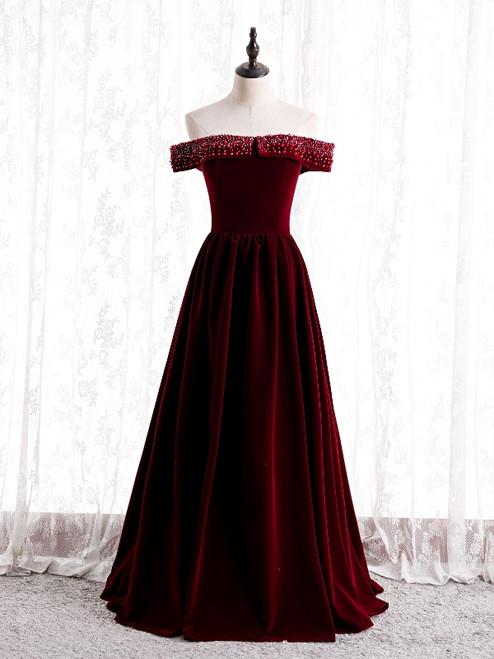 Burgundy Velvet Off the Shoulder Beading Prom Dress