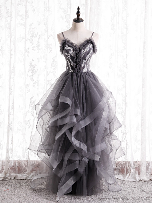 Gray Tulle Spaghetti Straps Appliques Prom Dress