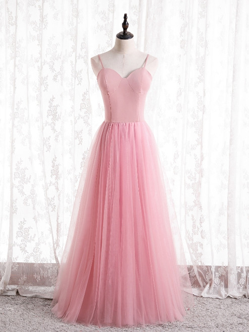 Sexy Pink Tulle Spaghetti Straps Prom Dress
