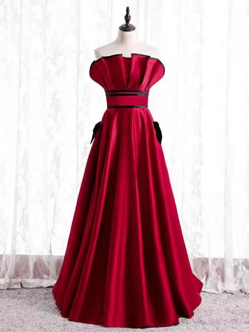 Burgundy Satin Strapless Pleats Prom Dress
