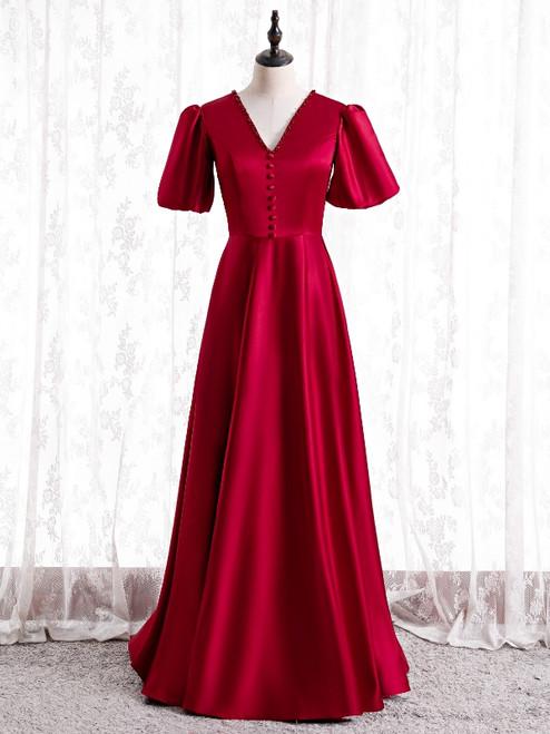 Burgundy Satin V-neck Backless Short Sleeve Prom Dress