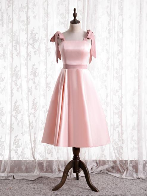 Pink Satin Straps Tea Length Prom Dress
