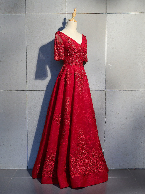 Burgundy Tulle Appliques Beading Prom Dress
