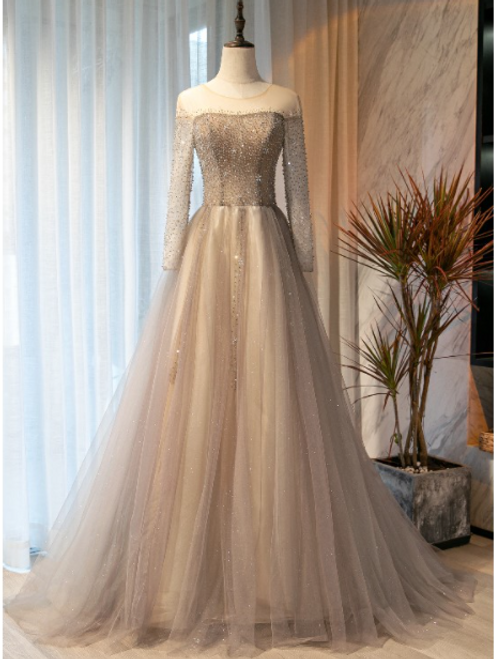 Champagne Gray Tulle Long Sleeve Beading Prom Dress