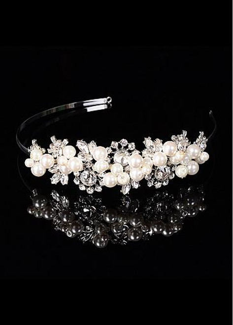 In Stock Romantic Alloy Wedding Tiara With Pearls