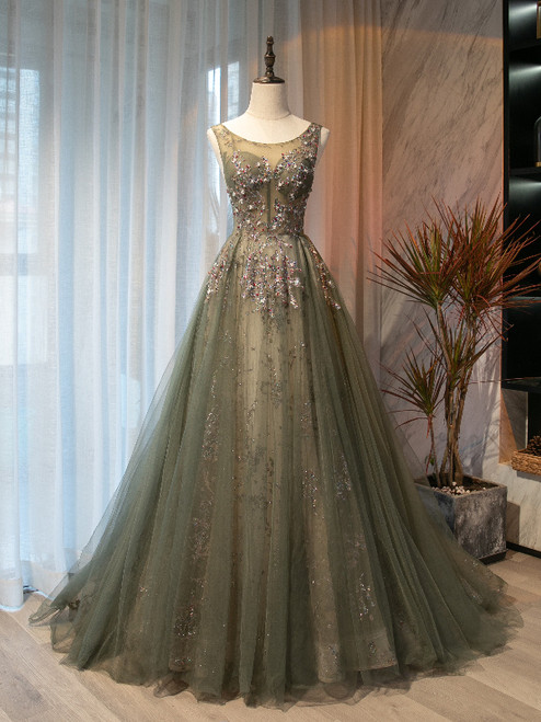 Sexy Green Tulle Sequins Beading Prom Dress