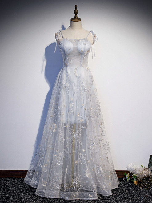 Gray Tulle Spaghetti Straps Embroidery Prom Dress