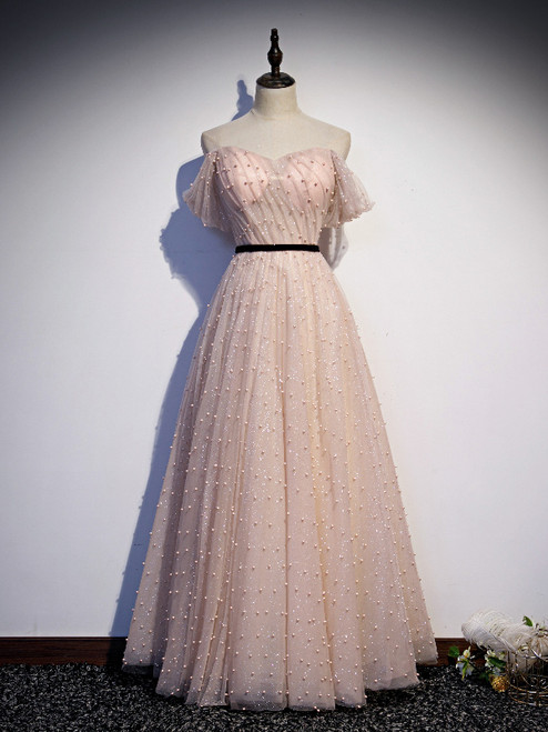 Pink Tulle Sequins Pearls Pleats Prom Dress