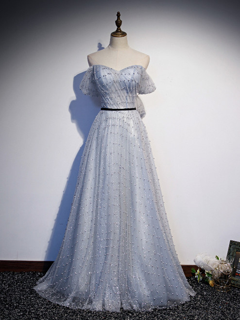 Silver Gray Tulle Sequins Pearls Pleats Prom Dress