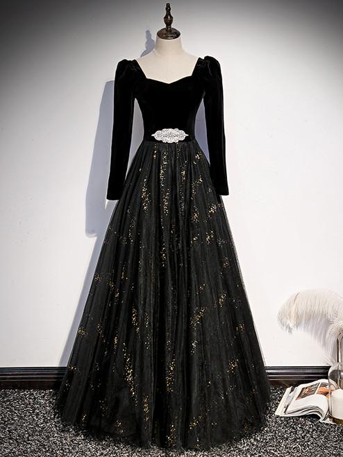 Black Tulle Velvet Long Sleeve Prom Dress