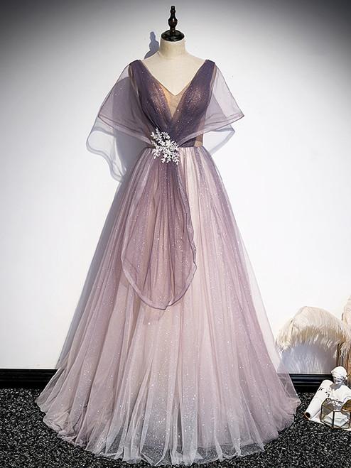 Purple Tulle V-neck Backless Bat Sleeve Prom Dress