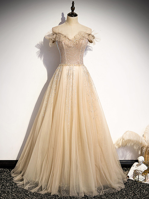 Champagne Tulle Sequins Beading Prom Dress