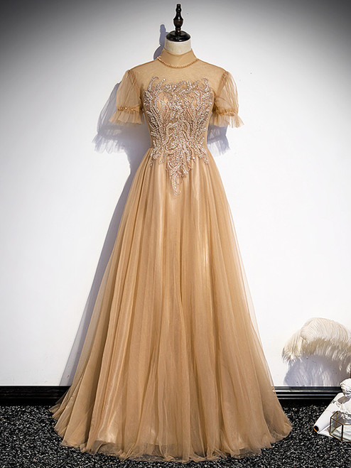Champagne Tulle High Neck Backless Prom Dress