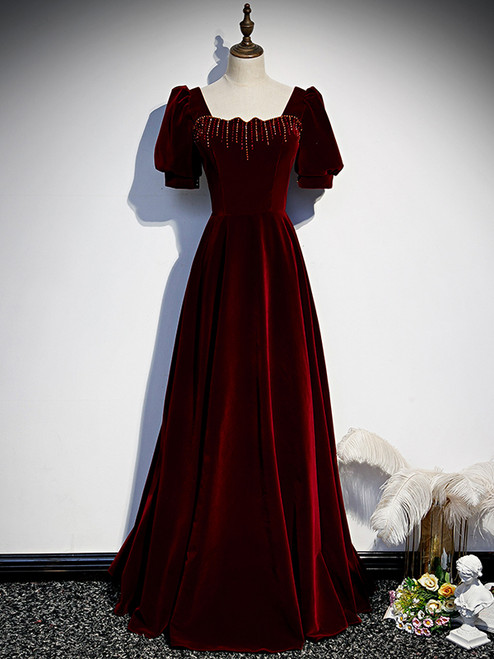 Burgundy Velvet Square Short Sleeve Beading Prom Dress