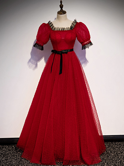 A-Line Burgundy Tulle Puff Sleeve Prom Dress