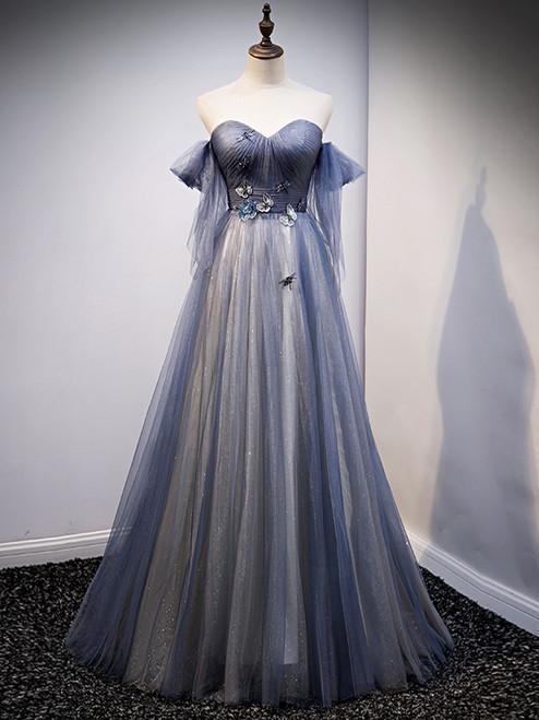 Blue Tulle Sweetheart Pleats Appliques Prom Dress