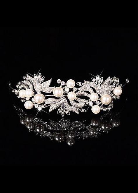 In Stock Glamorous Alloy Wedding Tiara With Pearls