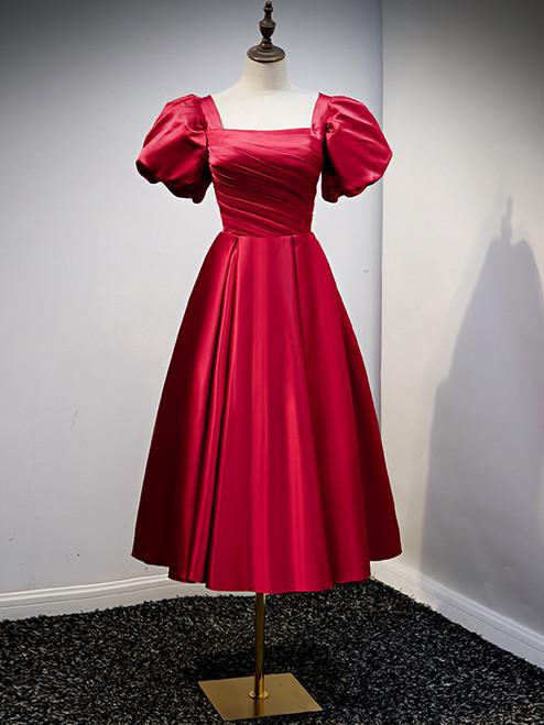 Burgundy Satin Square Puff Sleeve Prom Dress