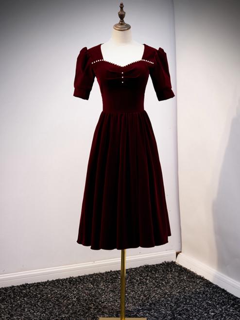 Burgundy Velvet Square Short Sleeve Pearls Prom Dress