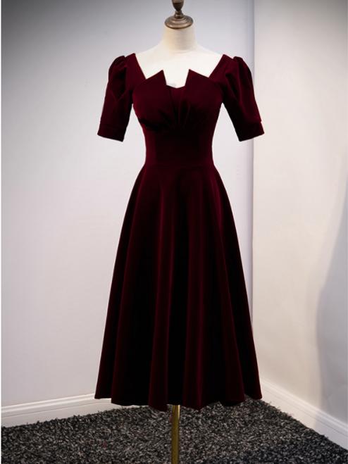 Dark Burgundy Velvet Square Short Sleeve Short Prom Dress