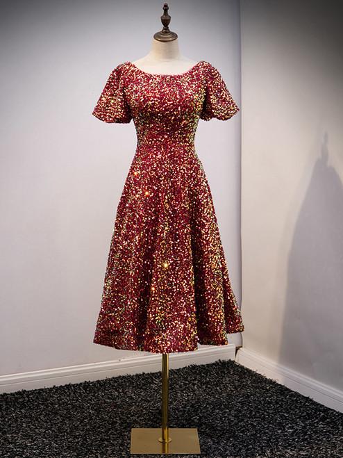 Burgundy Sequins Puff Sleeve Tea Length Prom Dress